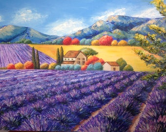 Oil painting landscape inspired by Jean-Marc Janiaczyk for sale oil on canvas handmade art