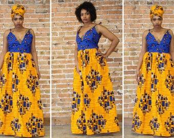 Ankara Color Block Maxi Dress