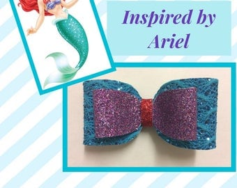 Ariel (The Little Mermaid) Inspired Glitter Hair Bow