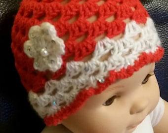 beanie baby girl red white flower