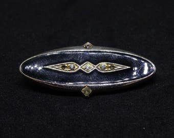 Art Deco Black And Gold Coloured Brooch With Diamantes