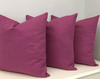 Set of 3, Luxury Magenta Pink Cotton Canvas Pillow Cover, Pink Pillows, Cotton Pillows, Throw Pillow, Decorative Pillow, Pink Pillow Covers