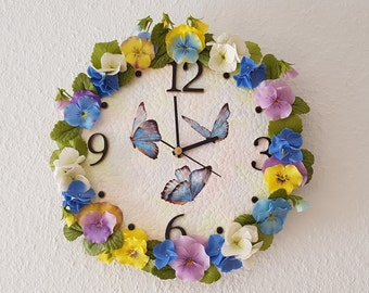 Wall clock, flower decoration, home decoration, gift