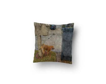 "StraitPuggin's ""Mornings in Surburbia"" Throw Pillow"