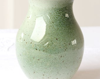 Small Green Glaced Ceramic Flower Vase - 12 cm tall