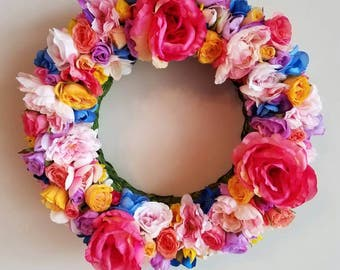 Blue Accent Spring Wreath, 14 inch, Spring Wreath,  Bright Spring Wreath,  Wreath Decor,  Spring Floral Decor