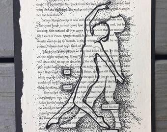 Blackout Poem - 'On her own.' Found Poem / Art / Book Art / Illustration / OOAK