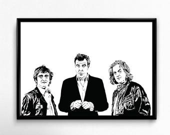 Top Gear Art Print - Super Detailed Giclee Print of Jeremy Clarkson, Richard Hammond and James May - Multiple Sizes and Colors