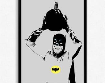 1960s Batman Art Print - Super Detailed Giclee Print of Adam West as Batman - Multiple Sizes and Colors