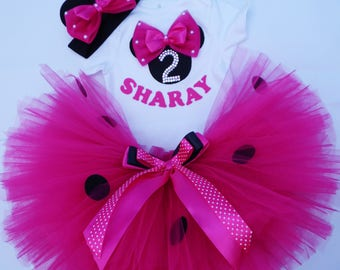 Minnie Birthday Outfit Minnie Mouse 2nd Birthday  , Shirt Pink Minnie Second Birthday , Girl Disney World 2 Birthday Tutu , Personalized