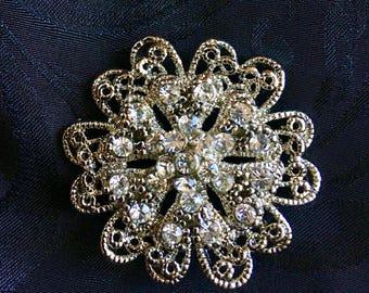 Vintage Flower Blossom Rhinestone Brooch/Pin