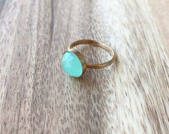 Aqua Chalcedony Rose Cut Gold 10 mm Ring, Seafoam Green Ring, Aqua Gold Ring