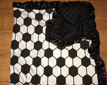 Soccer Minky Baby Blanket