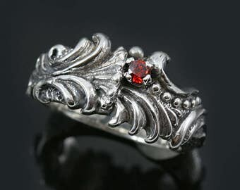 Mars Floral Style Red Garnet Sterling Silver CZ Ring LR-110