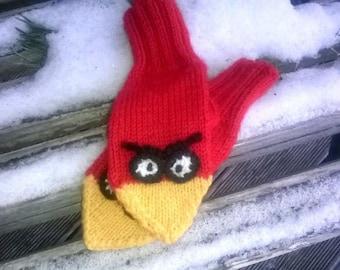 Mittens Angry Birds, Knitted Mittens, Hand knitted mittens, вязаные варежки, злые птички