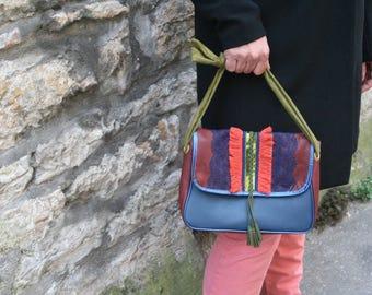 Ethnic hippie leather leather handbag