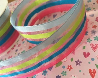 40mm wide sheer wired ribbon, blue, green, pink stripes, by 1m lengths