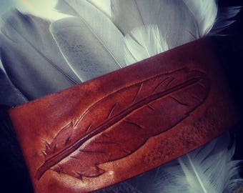 Leather Bracelet Feather
