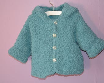 """Coat wool velvet color """"blue-green"""" hand knitted hooded"""