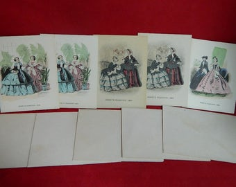 FIVE Godey's Fashions Vintage Notecards with Envelopes_SET D