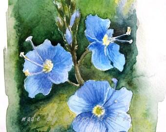Forget-me-not, original watercolor, Original Painting, blue flower, watercolour art, wall art, watercolor painting