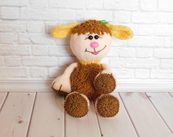Lamb stuffed toy Cute curly lamb Hand-Knitted toys Crochet lamb Stuffed animal toys doll Baby soft toy Plush lamb amigurumi