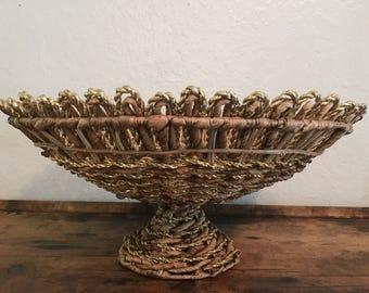 Boho Pedestal Basket, Large Woven Whicker Fruit Bowl, Decorative Footed Basket, Woven Golden Basket Bowl