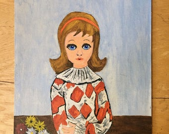 Vintage Girl Painting, George Driscoll Original Oil Painting, Blonde Girl with Blue Eyes, Big Eyes