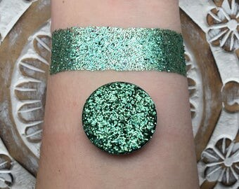 Holographic mint pressed glitter eye shadow, mint green, 26mm magnetic pan or jar