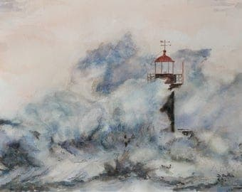 Lighthouse Storm - original watercolor painting