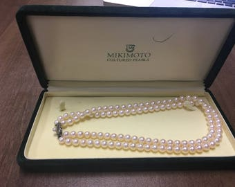 MIKIMOTO Cultured Pearl Double Strand Beautiful Vintage 15.25 inch pearl necklace With Professional Appraisal 50% off 5,090.00 value