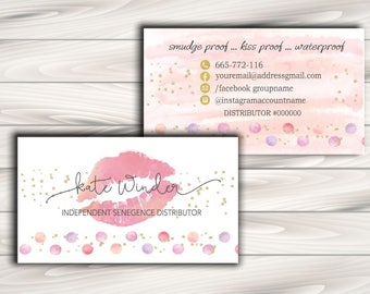 LipSense Business Card, SeneGence business card - 3.5x2 - polka dot and lips