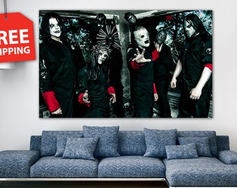 """Canvas painting """"Slipknot"""". Large music poster. Extra Large Wall Decor. Printing home decor for music fans. Large modern art. FREE SHIPPING!"""
