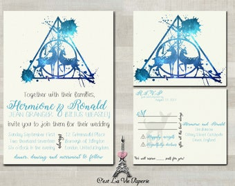 Harry Potter Deathly Hallows Inspired Doe Wedding Invitation Set