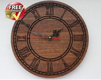 Wall clock, Wood wall clock, Wood clock, Exclusive clock, Wooden clock, Wooden wall clock, Walnut, Classic wall clock, Rustic clock