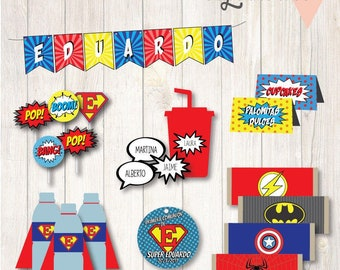 Printable party custom Superheroes