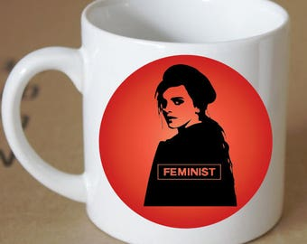 Fiery Red Feminist Emma Watson Coffee Mug