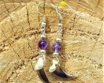 Silver fox claws and Amethyst earrings