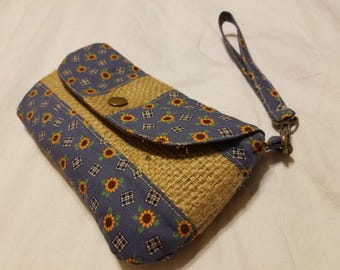 Wristlet - Blue with Sunflowers and Burlap