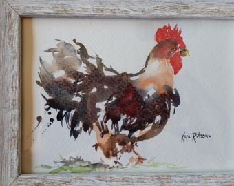 Original Watercolor Rooster Painting