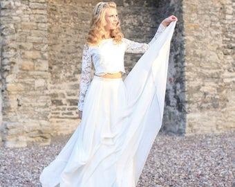 Crop top wedding dress / lace top wedding dress / Beach wedding gown / Wedding Dress Separates / Wedding Crop Top / Bridal Separates Top