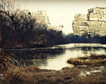 Ancient ruins over a lake fantasy art photography, landscape, fairy-tale, surreal, ruins, nature, lake, woodland, forest, dreamy, dark