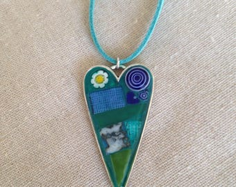 Green And Turquoise Daisy Heart Glass Pendant Necklace