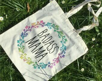 Badass Mama Floral Tote Bag