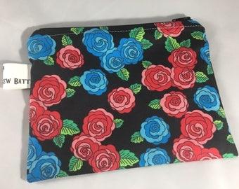 Roses makeup bag, cosmetic bag, zippered bag