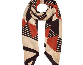 Handwoven scarf, Block print scarf, Handmade scarf, Natural dye scarf, Eco friendly scarf, Gift for her