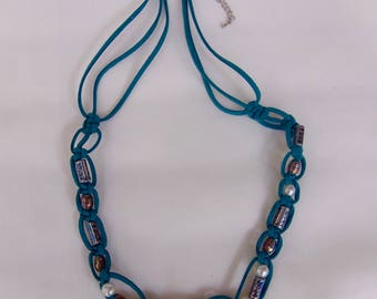 Casual blue leather beaded necklace