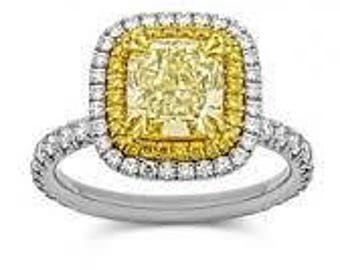 1.44 Carat Yellow Diamond Gia Certified Engagement Ring