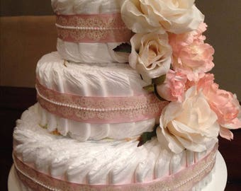Large 3 tier baby girl diaper cake