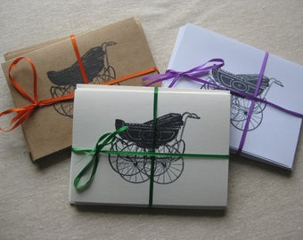 6 Handmade Baby Carriage blank notecard set